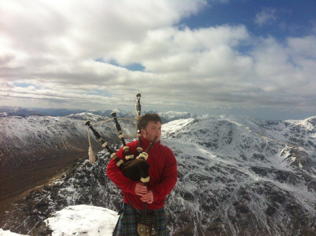 Beinn Tulleachean and Cruan Adrain Munro Bagpiper