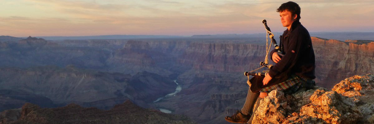 Munro Bagpiper Grand Canyon Panorama