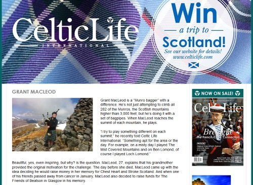 Munro Bagpier In the news Celtic Life