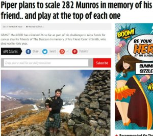 Munro Bagpiper In the News Daily Record
