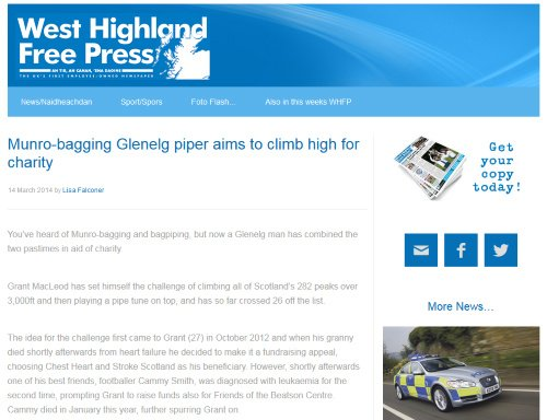 Munro Bagpiper In the News West Highland Free Press